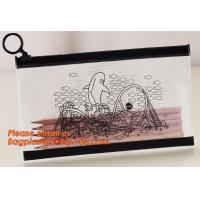 China A4 clear plastic pp document carrying file folder zipper lock pocket bag with small button file wallet on sale