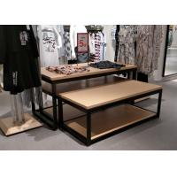 China 2 Layer Clothing Display Shelves Wood Nesting Table , Retail Clothing Display Units on sale