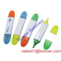 China Multi color high quality double shape double color promotional highlighter marker on sale