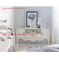 Quality Ivory Classic TV stand wood furniture Audiovisual cabinet in White matt PU painting for sale