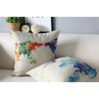 World map cushion,custom print cotton linen cushion,painting drawing cushion Manufactures
