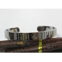 Lotus Tibetan Open Bangle Bracelets Stainless Steel Material With Buddhist Scriptures Manufactures