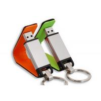 Metallic Rectangle Leather USB Flash Disk , Foldable Memory Drives With Keychains Manufactures