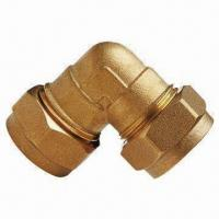 China Brass Compression Fitting with 10 Years Warranty, Available in Elbow Shape on sale
