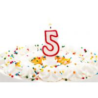 Birthday Candle Number 5 With Red Color Edge , Lovely Candles For Cake Decorating Manufactures