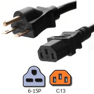 NEMA 6 15P to IEC 320 C13 15 Amp AC Power Cord 14 AWG For Computer