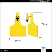 Laser Printing Livestock Ear Tags One Piece Big Size Ear Tag For Cattle Yellow Color Manufactures