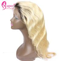 30 100% Remy Virgin Hair / Dark Roots Human Hair Blonde Wigs Tangle Or Shed Free Manufactures