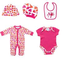 Spring Knitted Printed 5 Pieces Baby Born Clothes Set For Gift , Custom Made Manufactures