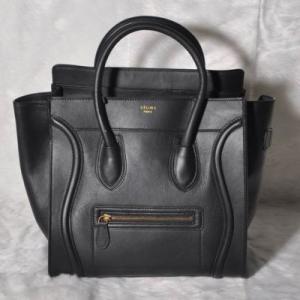 Celine Mini Luggage Tote Bag Smooth Leather Black Manufactures