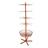 Grocery Spinner Rotating Floor Display Stand With Hooks And Basket Manufactures