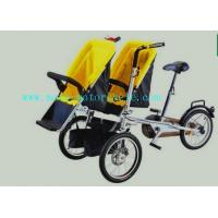 China Yellow Plastic Baby Stroller Folding Bike With Twin Baby Seat on sale