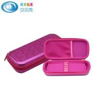 Quality Pink Hard Shell Zipper Closure EVA Pencil Case With Mesh Pocket For Kids for sale