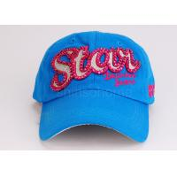 Lady / Women Blue Cotton Twill Embroidered Baseball Caps Hat For Sports Manufactures