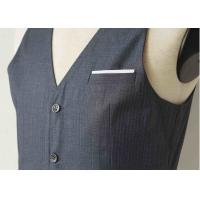 Big Stripe Mens Three Piece Suit , Grey Wool Three Piece Suit Anti - Wrinkle Manufactures