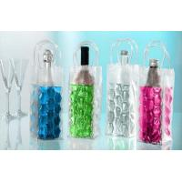 Colorful Handle Plastic Wine Bottle Cooler Bags , Customized PVC Wine Ice Pack Bag Manufactures