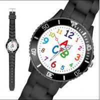 Christmas Gift 36mm Black Silicone Quartz Watch For Kids With Debossed Logo Manufactures