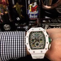 Richard Mille RM001 Ceramic Case Skeleton White Rubber Strap Automatic Watch - 1W0011 Manufactures