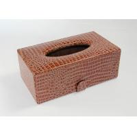 China Custom Rectangular Facial Tissue Box Covers Leather Material with Card Board Red Color on sale