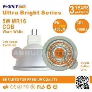 Quality Energy Saving Aluminium 5W 450LM CRI80 Bright G5.3 MR16 Warm White COB Spotlight for sale