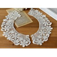 Embroidered Water Soluble Floral Lace Collar Applique For Lady Garment 100% Cotton Manufactures