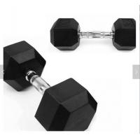Rubber Coating Gym Equipment Accessories , Body Strong Rubber Hex Dumbbells Manufactures