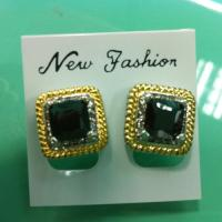 (E-43)New Women Jewelry Fashion Gold Plated Square Black Cubic Zircon Stud Earrings