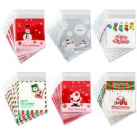 PE SELF ADHESIVE CLEAR CHRISTMAS CELLOPHANE TREAT BAGS FOR PACKAGING CANDY OR COOKIE Manufactures