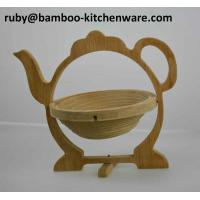 Bamboo Wooden Tea Pot Shaped Folding Collapsible Multipurpose Fruit Basket Board Coaster Manufactures