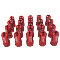 Red 40mm Aluminum Racing Wheel Lug Nuts With Key / Lock For Honda Manufactures