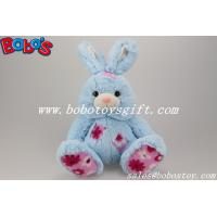 9.5 Cuddle Blue Rabbit Stuffed Toy With Flower Fabric Patch