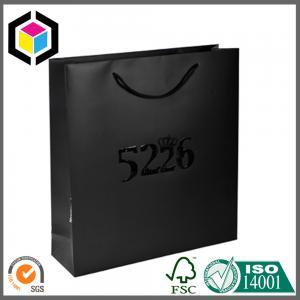 Glossy Spot UV Luxury Gift Bag; Dark Black Matte Color Paper Carrier Bag Manufactures