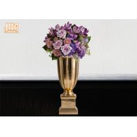 Quality Gold Leafed Fiberglass Table Vases Homewares Decorative Items Trumpet Floor for sale