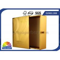 UV Coating Gold Metallic Paper Gift Box / Luxury Cosmetic Slide Box Packaging Manufactures