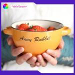 Salad / Dessert Ceramic Soup Bowl Disherwasher Safe With Silkdscreen Design Manufactures