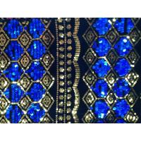 Water Soluble Sequin Embroidered Fabric , Embroidered Mesh Fabric Manufactures