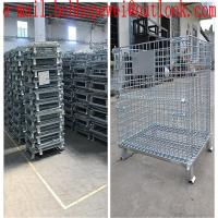 folding storage cages with castors used for supermarket ane warehouse/hot-dipped galvanized fold cage with wheels for sale
