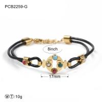 China Two Color Stainless Steel Bracelets Black Leather Rope With Stone on sale