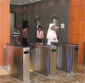 Hidden gate turnstile for luxury office buildings
