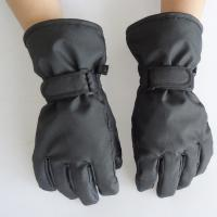 Soft Touch Waterproof Leather Ski Gloves , Fashion Style Black Leather Winter Gloves Manufactures