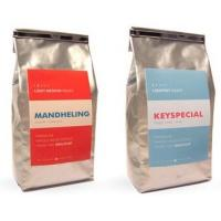 China Flat Bottom Matte Finish Aluminium Foil Pouch , Silver Tin Tie Coffee Packaging Bag on sale