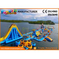 China High Durability Floating Inflatable Water Park Blue And Yellow Color on sale