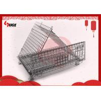 Heavy Duty Movable Folding Wire Container / Collapsible Steel Wire Pallet Box With Casters