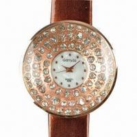 Jewelry Watch, Alloy Case with Three Circle Rhinestone Decoration, PVC Leather Strap Manufactures
