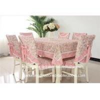 China Pastoral floral fabric tablecloth with border and chair cover set for outdoor event, on sale