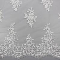 Floral Embroidery Eyelash Corded Lace Fabric For Bridal Wedding Dresses Manufactures