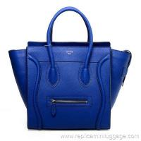 Celine Mini Luggage Tote Bag Pebbled Leather Electric Blue Manufactures