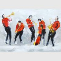 China Large Contemporary Oil Paintings Music People Polyester Fabric For Living Room Wall Decor on sale