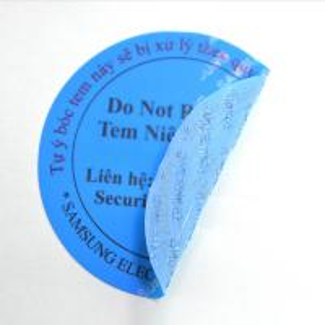 China Matt Blue Tamper Evident Security Labels With 80gsm Glassine Paper Release Liner on sale