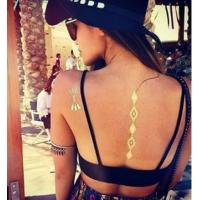 Long lasting body art back temporary tattoos Necklace , metallic flash tattoos Manufactures